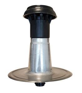 Dubbelwandige Ontluchting Aluminium + Kap Kunststof - diam 50/60 Flexibel