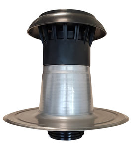 Dubbelwandige Ontluchting Aluminium + Kap Kunststof - diam 110/125 Flexibel