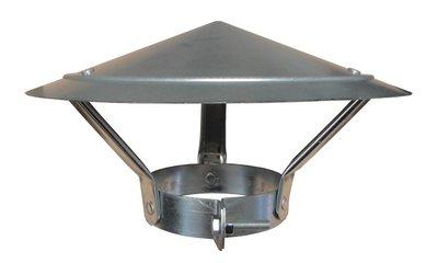 Regenkap Verzinkt - Diam 125 / 131 mm - Model Chinese Hoed