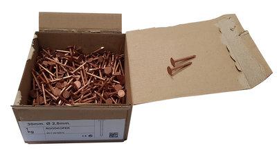 Koperen Leinagels Platte Kop- 2,8 x 20 mm - Doosje a 1 kg