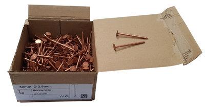 Koperen Leinagels Platte Kop- 2,8 x 40 mm - Doosje a 1 kg